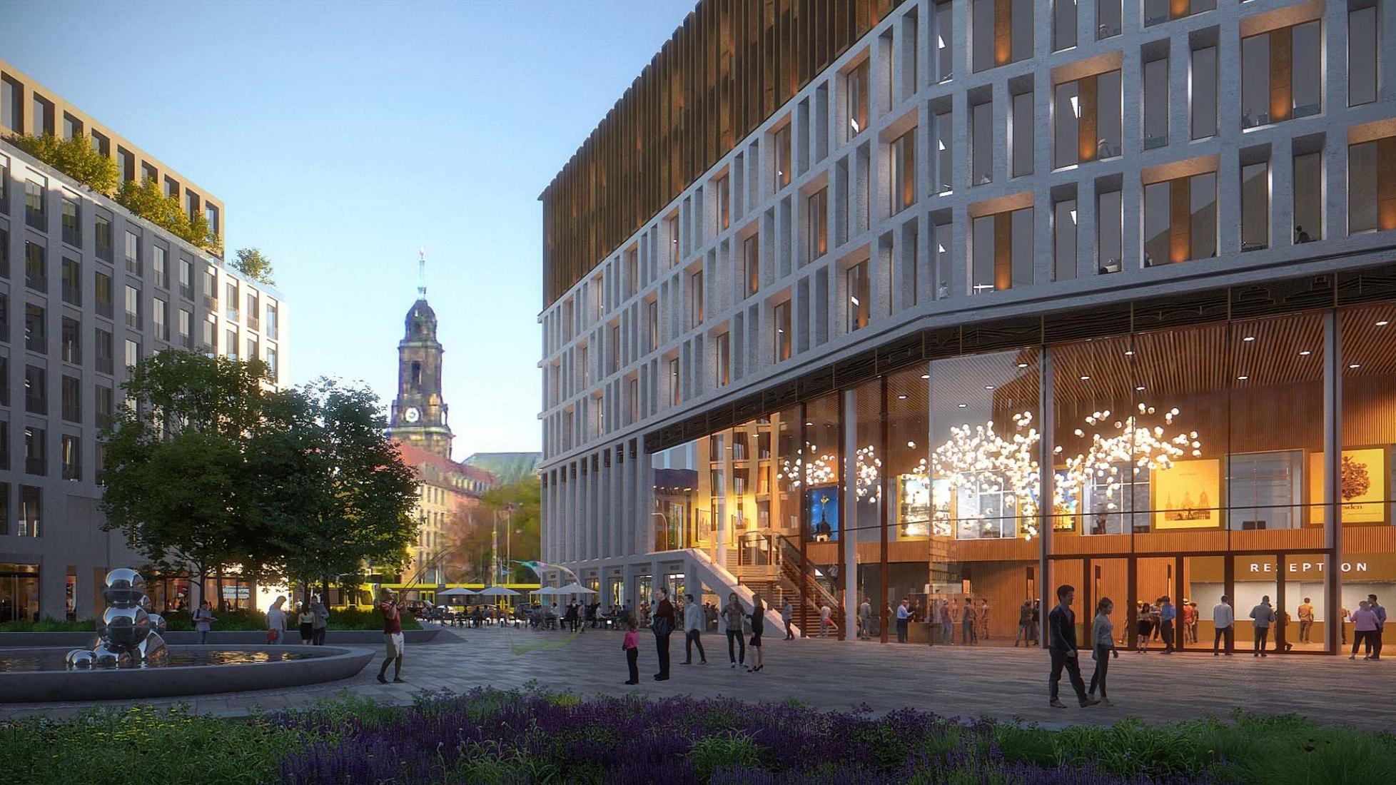Sede de la ciudad de Dresde por Barcode Architects y Tchoban Voss Architekten. Visualización por WAX