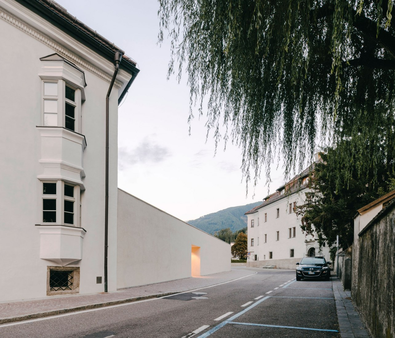 Entrance. Brunico School of Music by Barozzi & Veiga. Photograph by Simon Menges