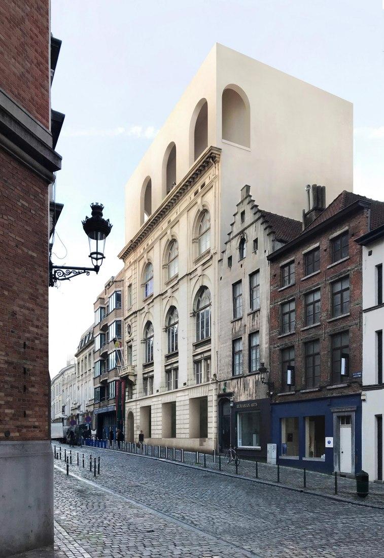 Vista desde la calle, visualización. Museo Judío de Bélgica por Barozzi Veiga, Tab Architects. Imágenes cortesía de Barozzi Veiga