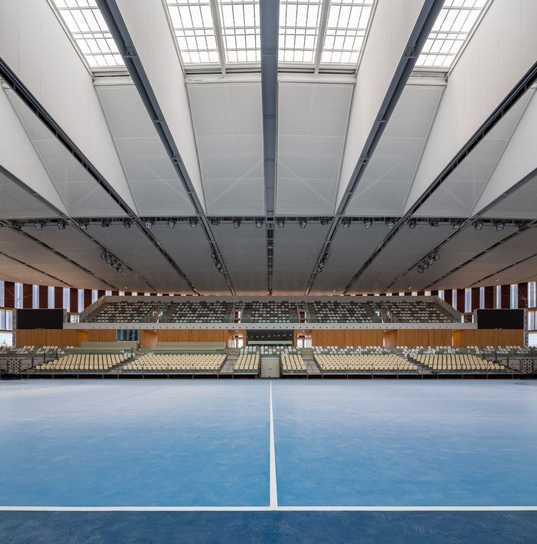 Ceramics for the Sports Hall Mediterranean Games by bb arquitectes and AIA. Photograph by Simón Garcia