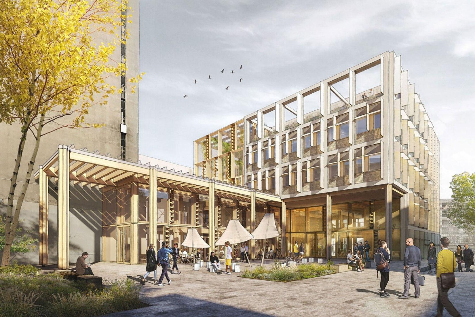 Proyecto HOP (ganador), vista exterior. Smart Living Lab por Behnisch Architekten, Drees & Sommer Schweiz AG, ZPF Ingenieure AG.