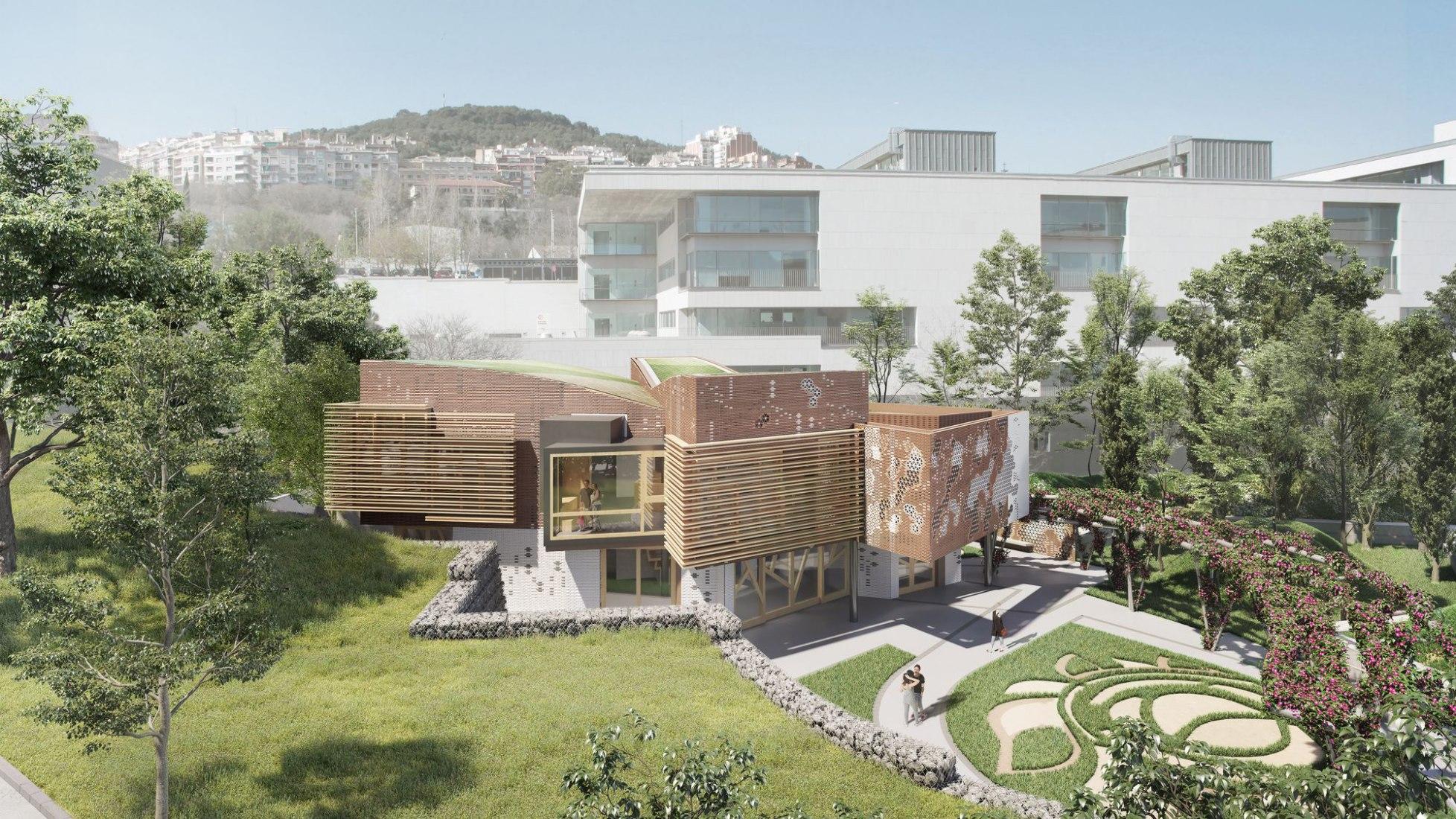 Visualización. Kálida Sant Pau, Centro Maggie en Barcelona, diseñado por Benedetta Tagliabue, EMBT.