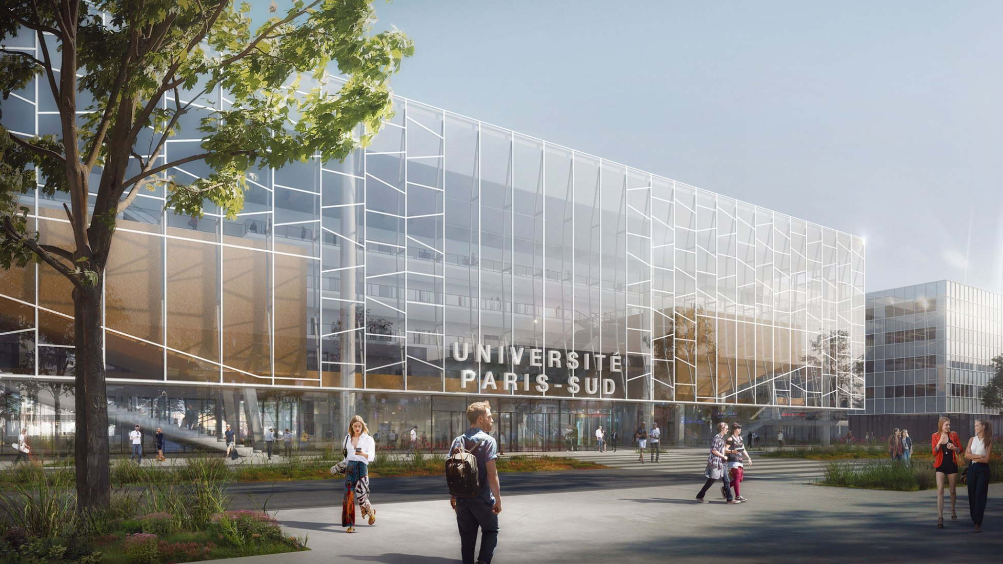 Rendering of the fully glazed main building. New centre of excellence in Biology-Pharmacy-Chemistry for Paris-Sud University © BTuA/BTA. Courtesy of Bouygues Construction