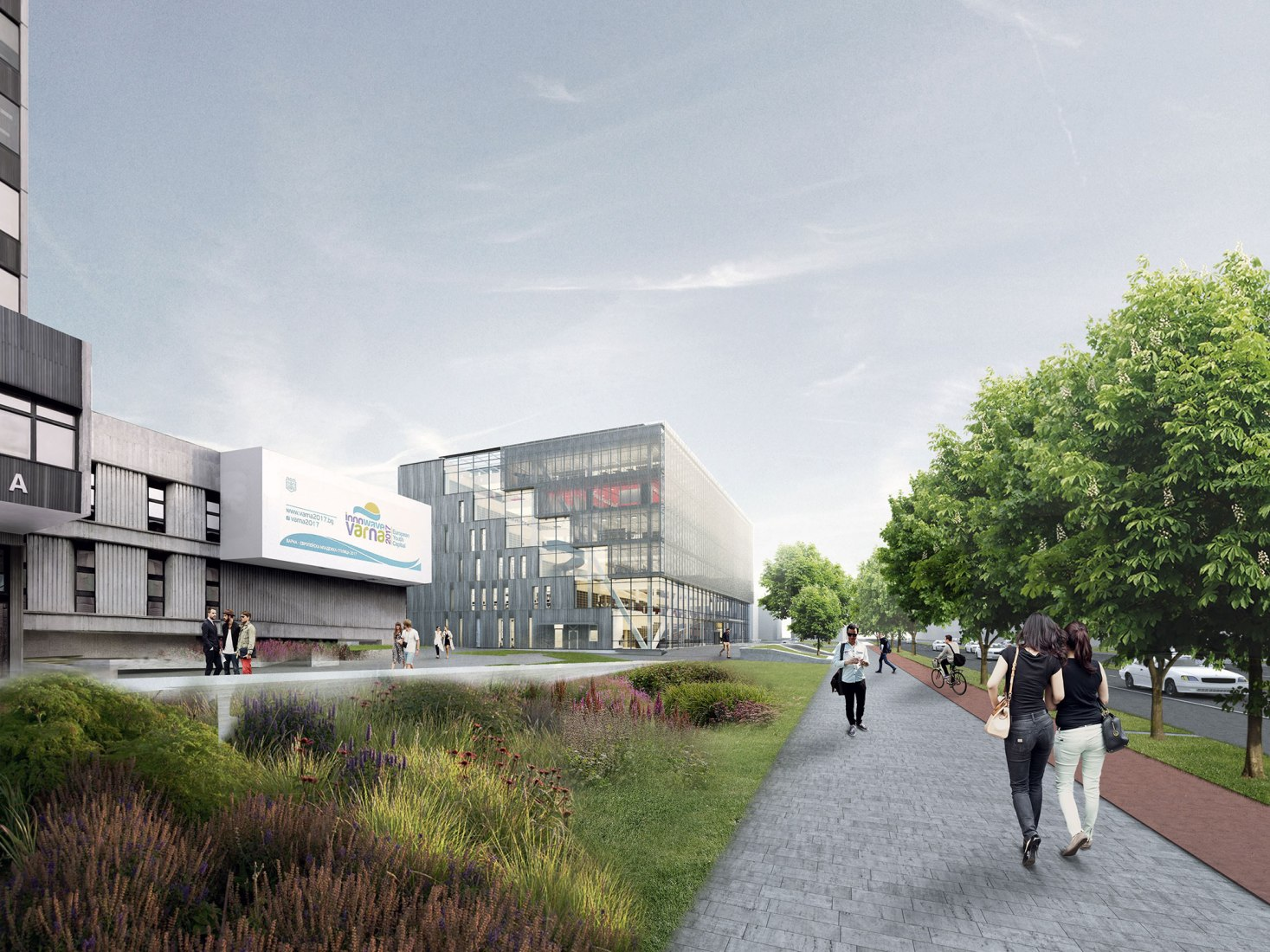Render vista exterior oeste. La Biblioteca Regional de Varna por Architects for Urbanity