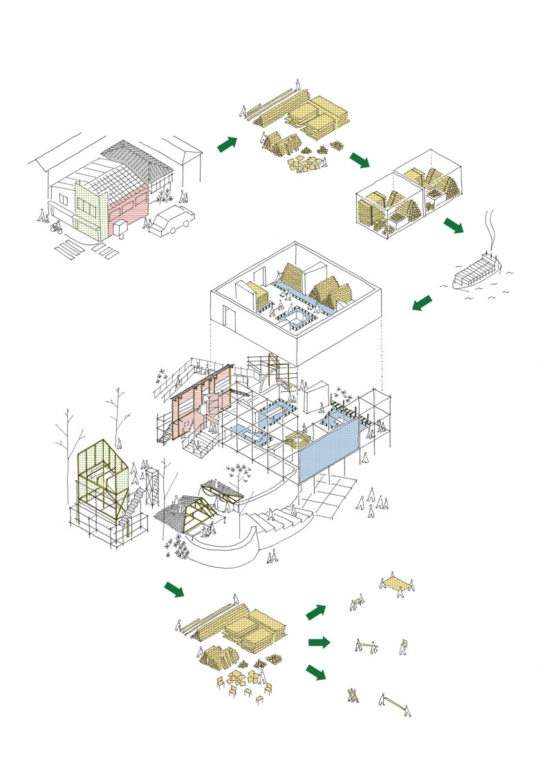 Axonometry. Japanese Pavilion at the 2021 La Biennale di Venezia by Kozo Kadowaki