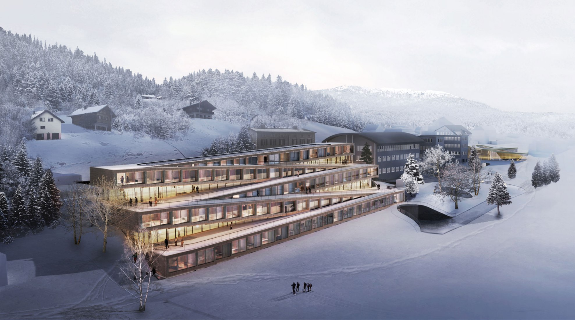 Rendering. Zig-Zag Ski Hotel by BIG-Bjarke Ingels Group. Courtesy of BIG-Bjarke Ingels Group
