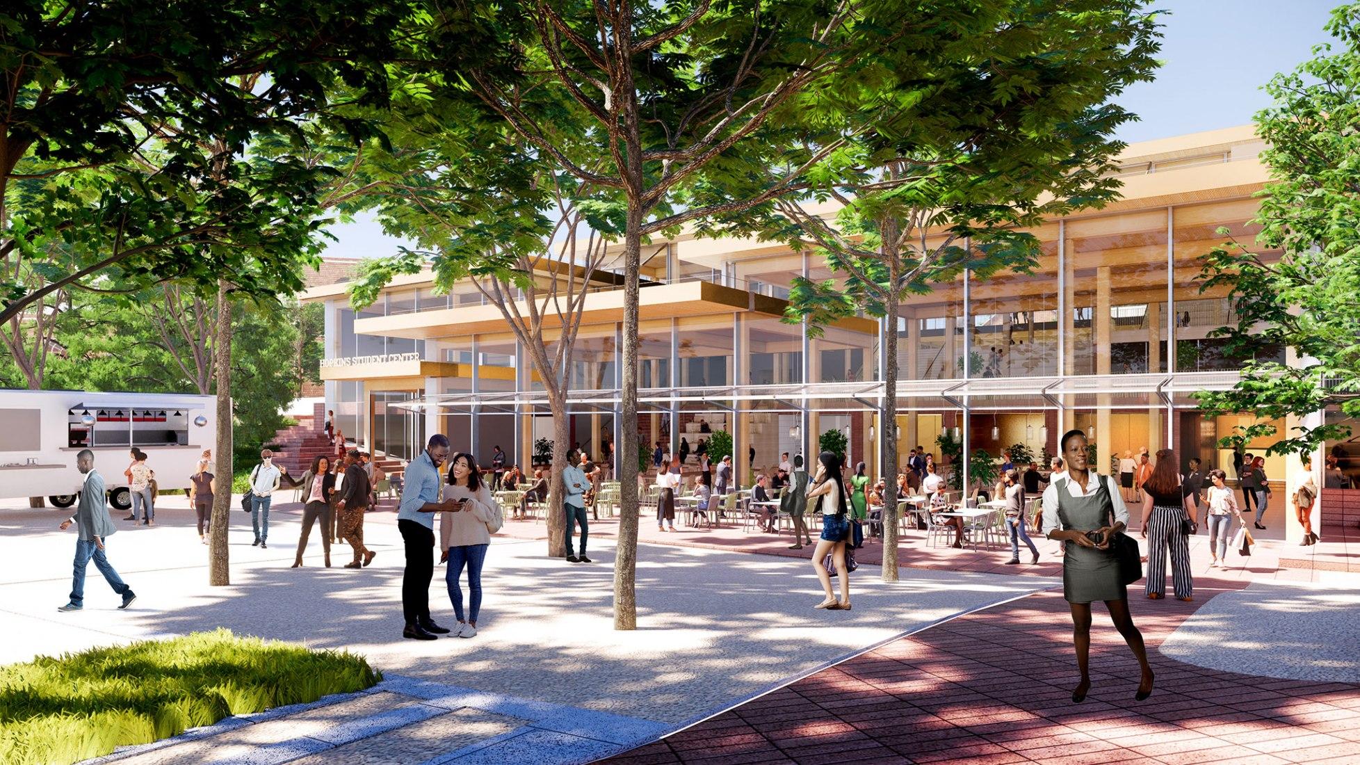 Centro de estudiantes de la Universidad Johns Hopkins por BIG-Bjarke Ingels Group. Visualización de BIG-Bjarke Ingels Group