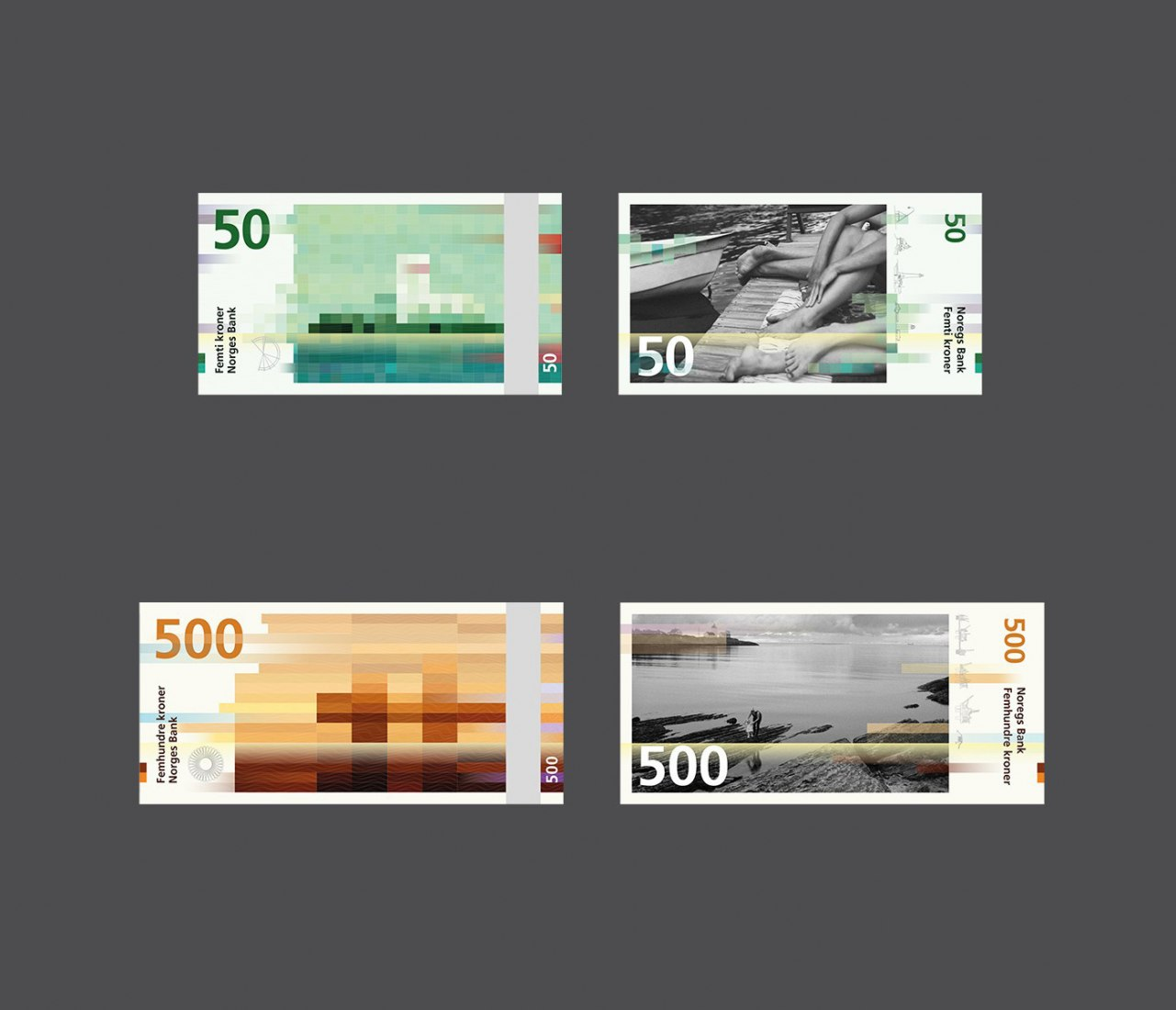 Backsides and front sides. Design Proposal for Norway's New Banknotes by Snøhetta