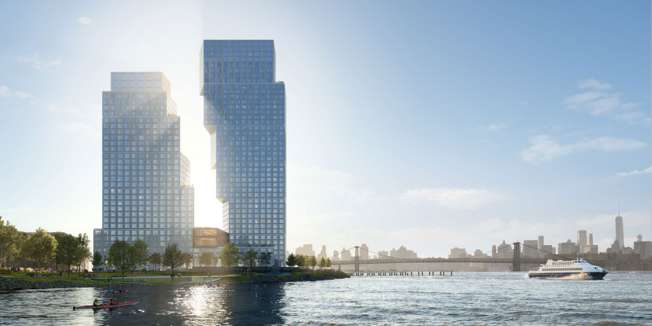 Rendering. Greenpoint Landing Block D by OMA / Jason Long. Image © OMA, Bloom