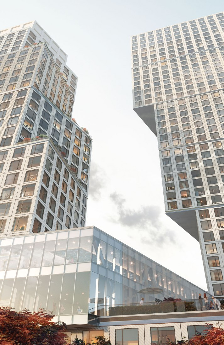 Rendering. Looking up at OMA's Greenpoint Landing towers. Image courtesy of OMA/Nuur nu.