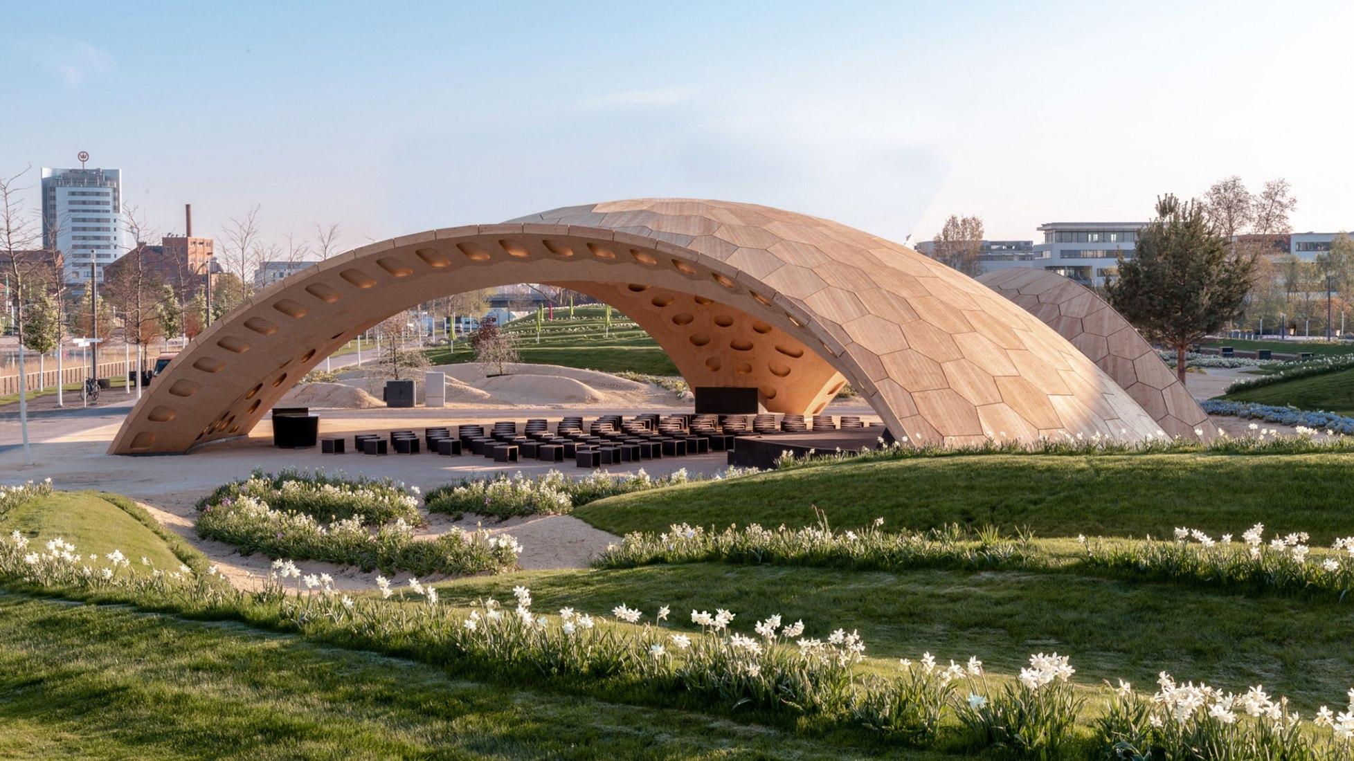 BUGA Wood Pavilion 2019 by ICD/ITKE, University of Stuttgart. Photograph by ICD/ITKE, University of Stuttgart.