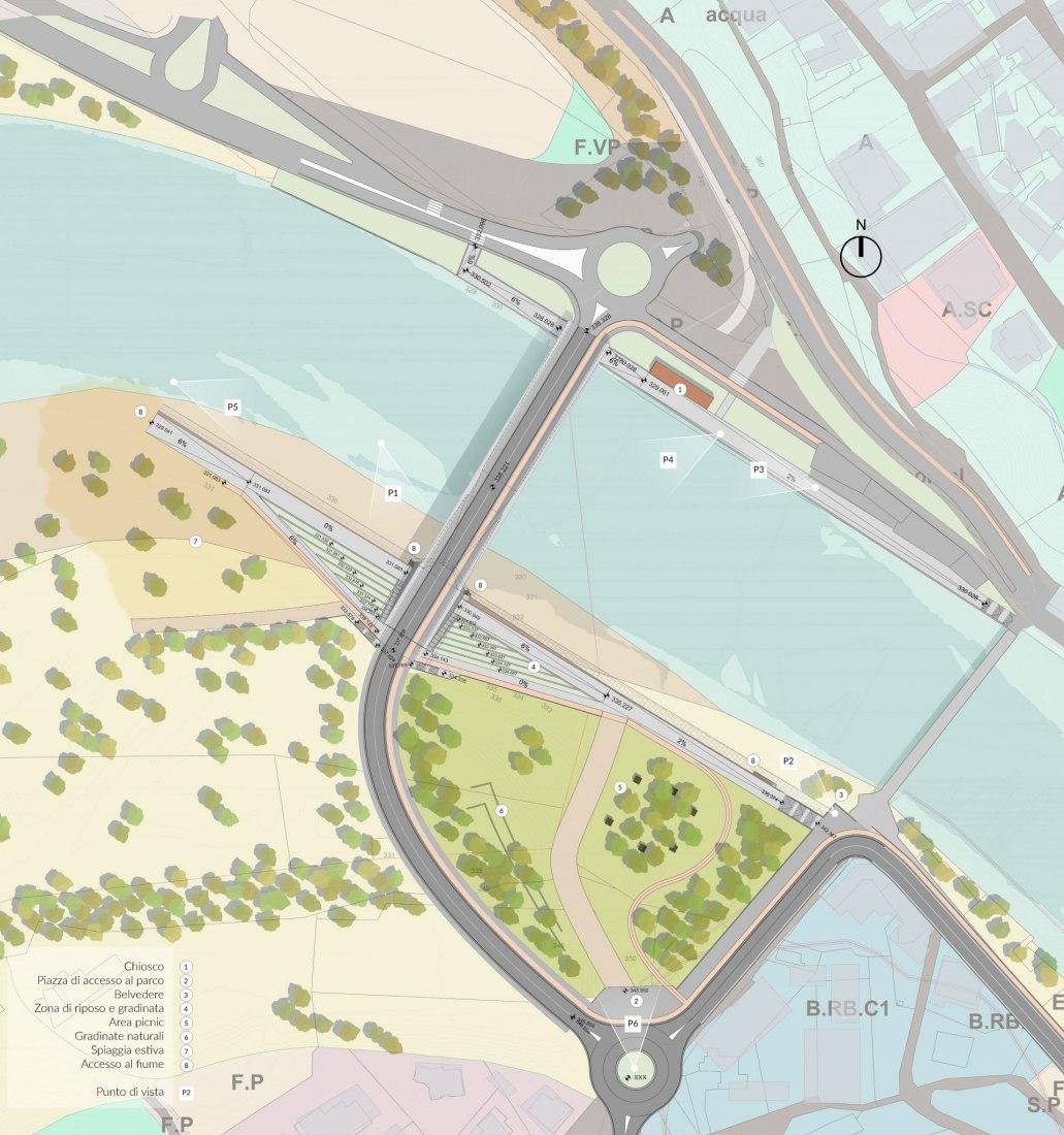 Plano de planta. Nuevo puente sobre el Piave por Alberto Campo Baeza y FHECOR
