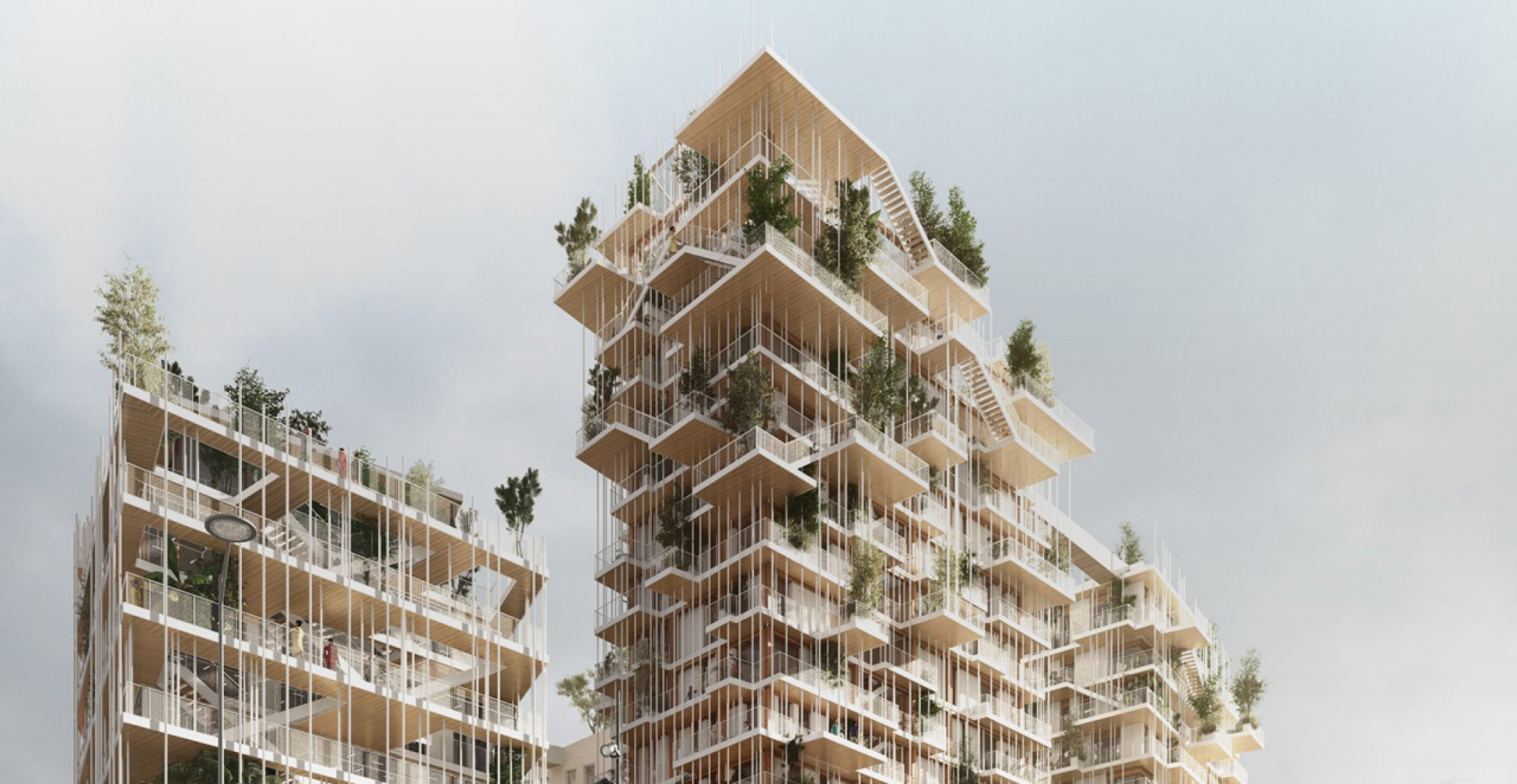 Exterior rendered view. Canopia by Sou Fujimoto and Laisné Roussel. Image © Sou Fujimoto Architects, Laisné Roussel, rendering by Tàmas Fisher and Morph.
