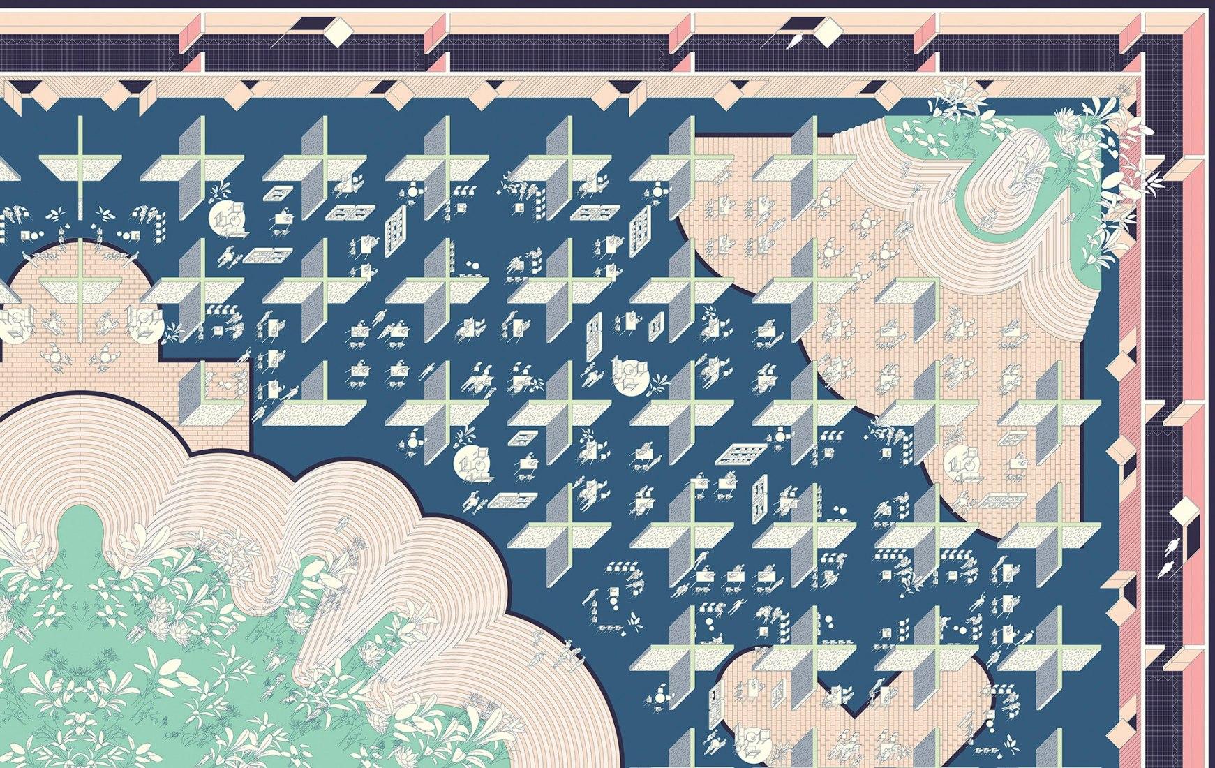 Detalle de alfombra de papel por Gonzalo del Val.