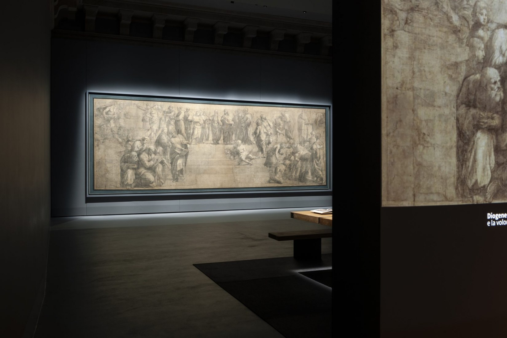 Sala de instalación de los dibujos de Rafael en la Pinacoteca Ambrosiana por Stefano Boeri. Fotografía de Paolo Rosselli.