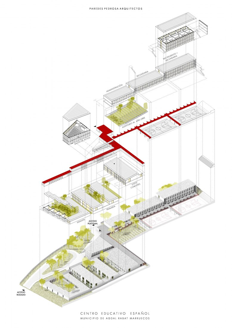 Axonometric view. First Prize Competition. The Spanish School in Rabat by ParedesPedrosa Architects. Image courtesy of ParedesPedrosa Architects.