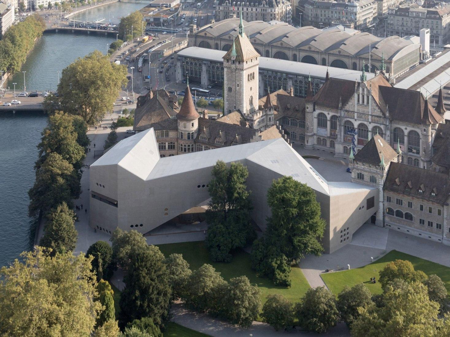 Aerial exterior view. Swiss National Museum by Christ & Gantenbein. Photograph © Iwan Baan
