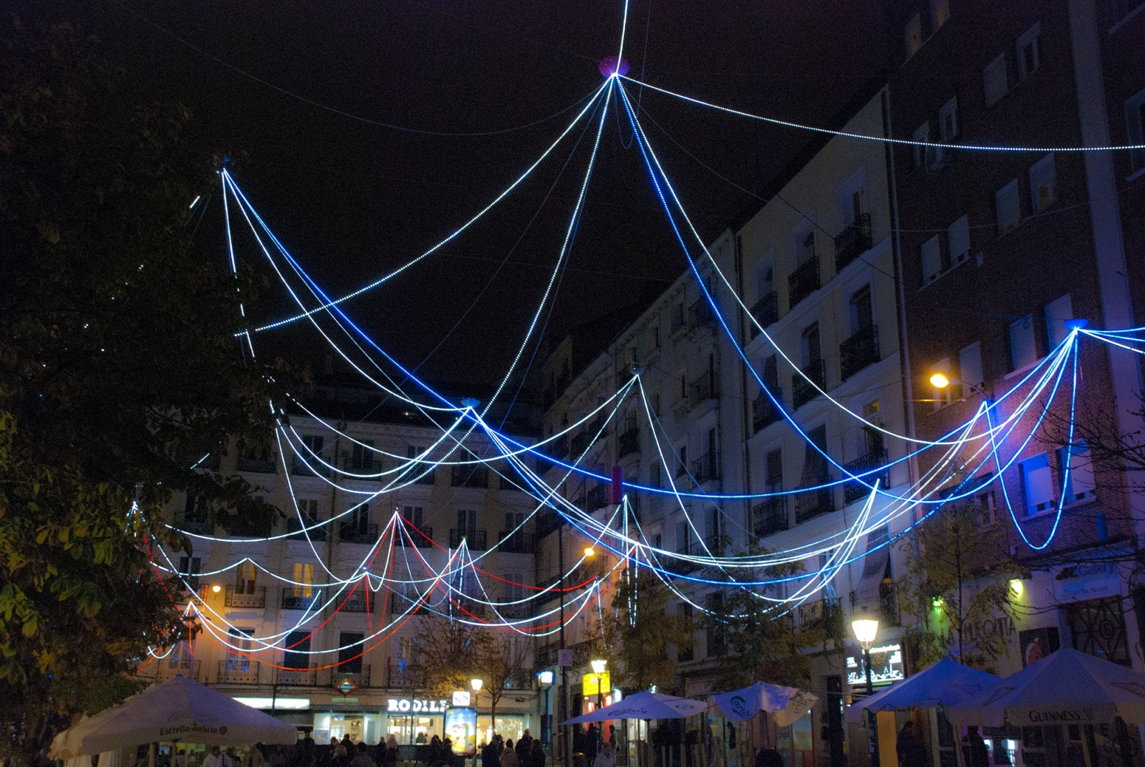Christmas lighting in Chueca Square by Sergio Sebastián. Photograph courtesy of SS Office