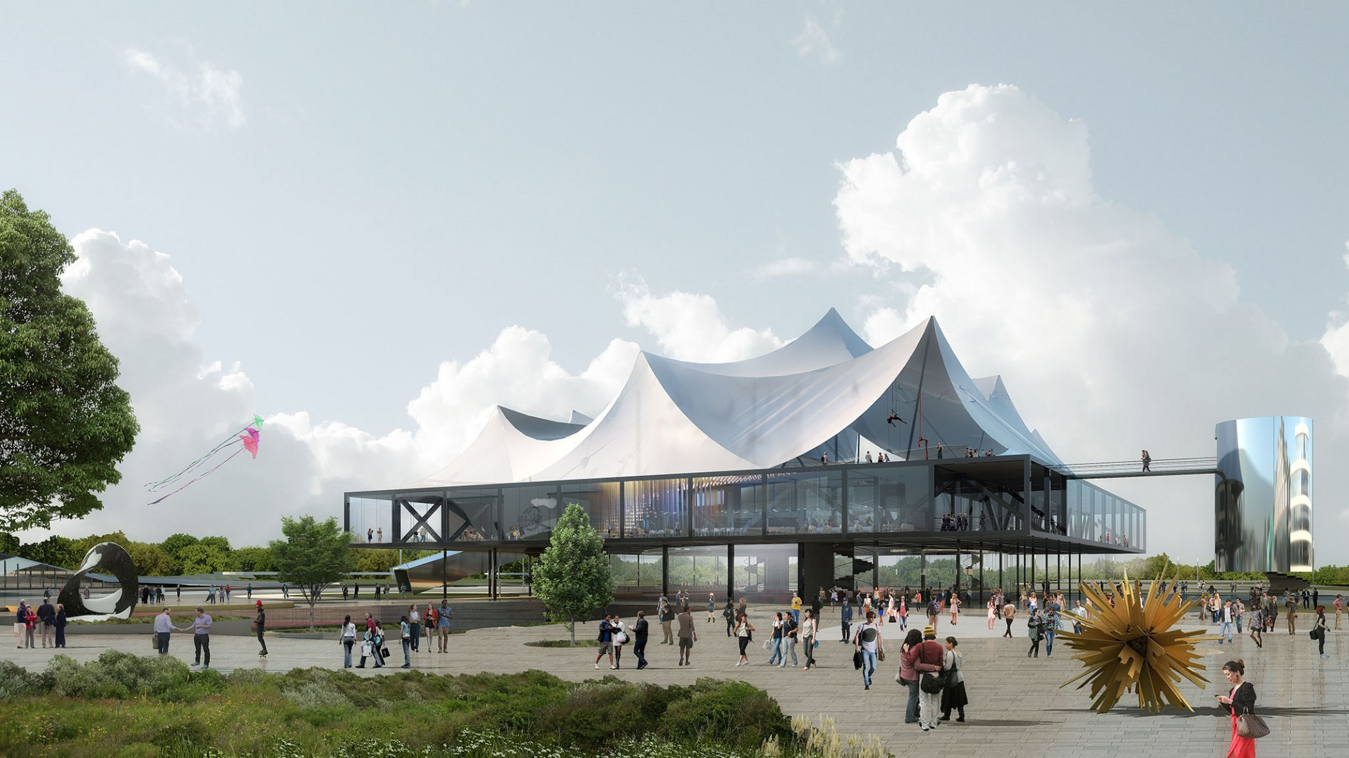 Exterior render. Clément Blanchet Architecture wins the international competition for the design of the new Circus ³. Courtesy of the architects