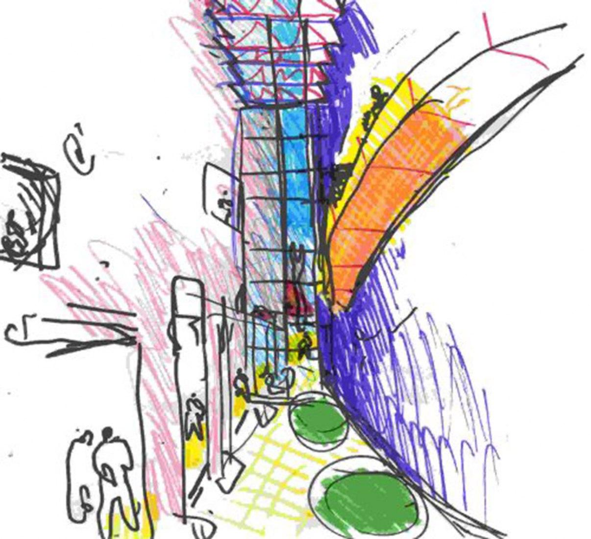 Sketch of the Konex Cultural City by Clorindo Testa. Konex Cultural City by Clorindo Testa, Juan Fontana and Oscar Lorenti
