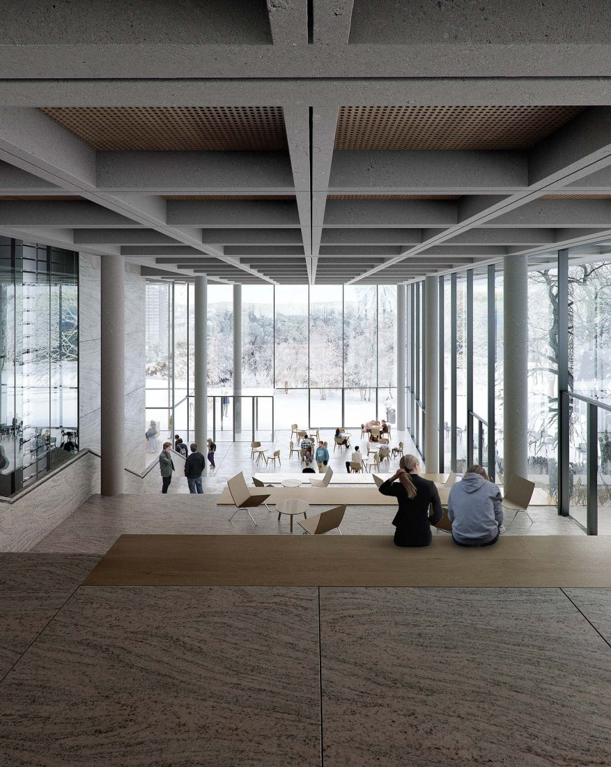Interior view rendering. Gothenburg University Library by Cobe. Image courtesy of Cobe