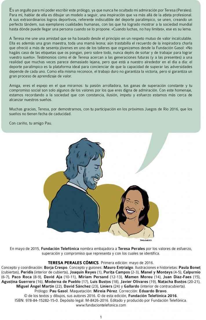 Prologue by Pau Gasol and illustration by Joaquín Reyes of Teresa Perales comics.