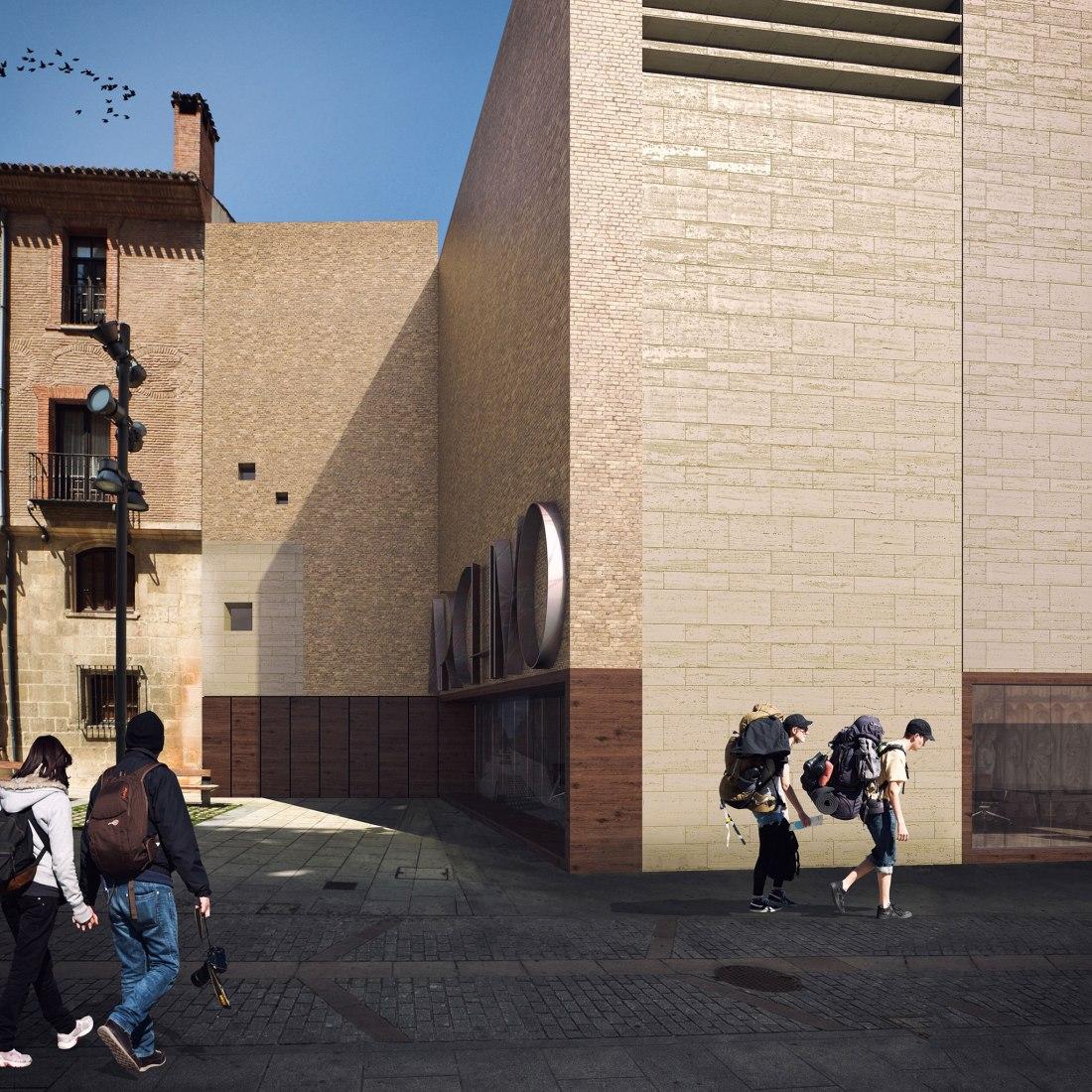 Visualización del acceso por la fachada sureste. Ampliación del Archivo Municipal, Palacio de Castilfalé por Contell-Martínez Arquitectos