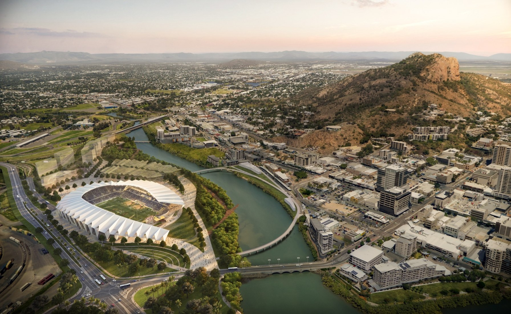 Overview of North Queensland Stadium by COX and 9Point9 Architects.
