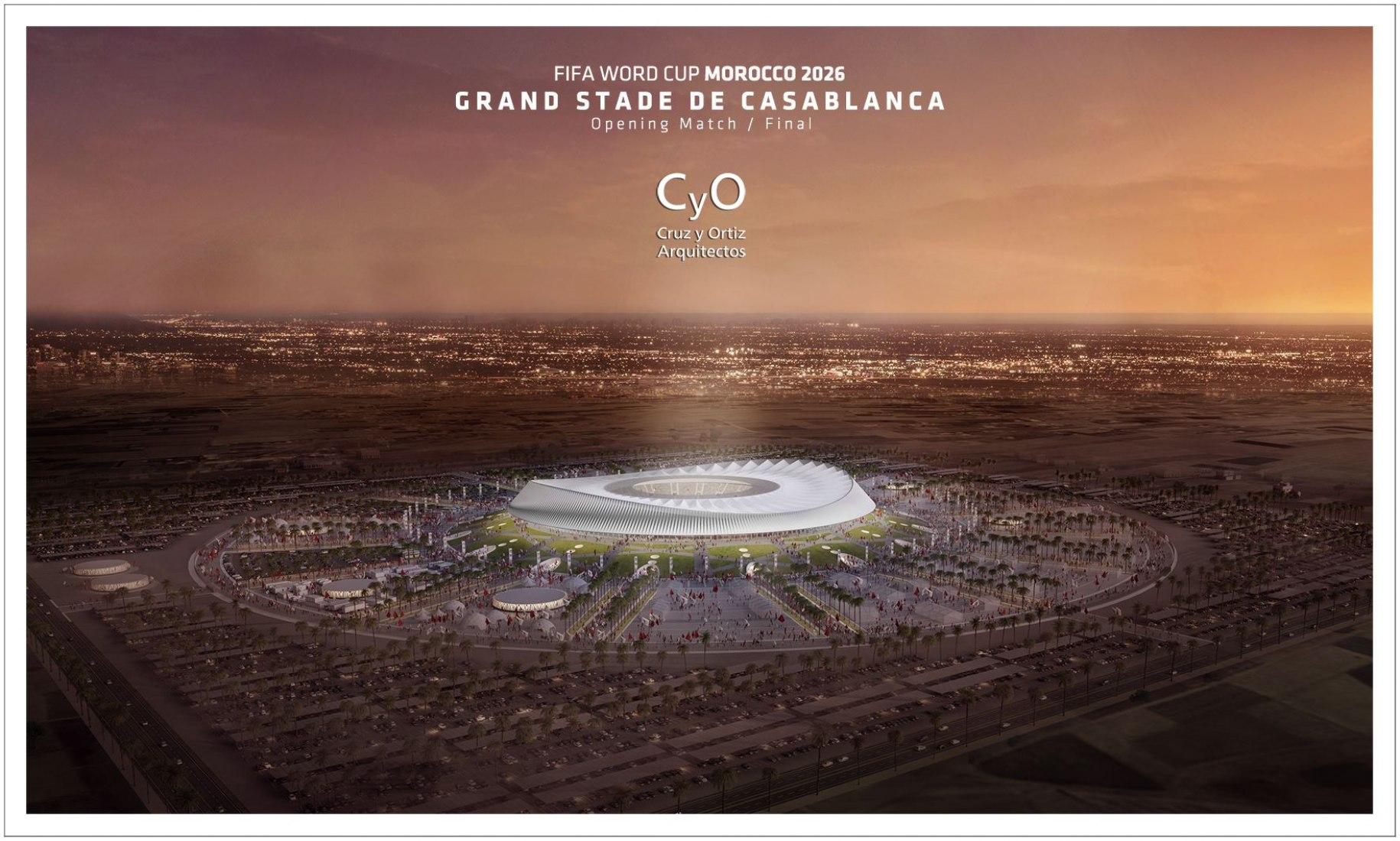 Visualización del  estadio de la gran final Marruecos 2026 por Cruz y Ortiz