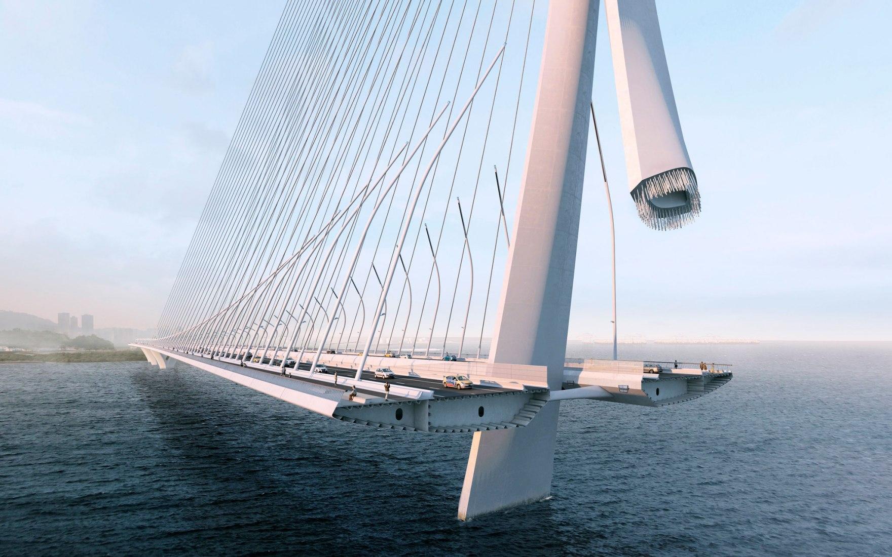 Puente Danjiang por Zaha Hadid Architects, visualización por VA