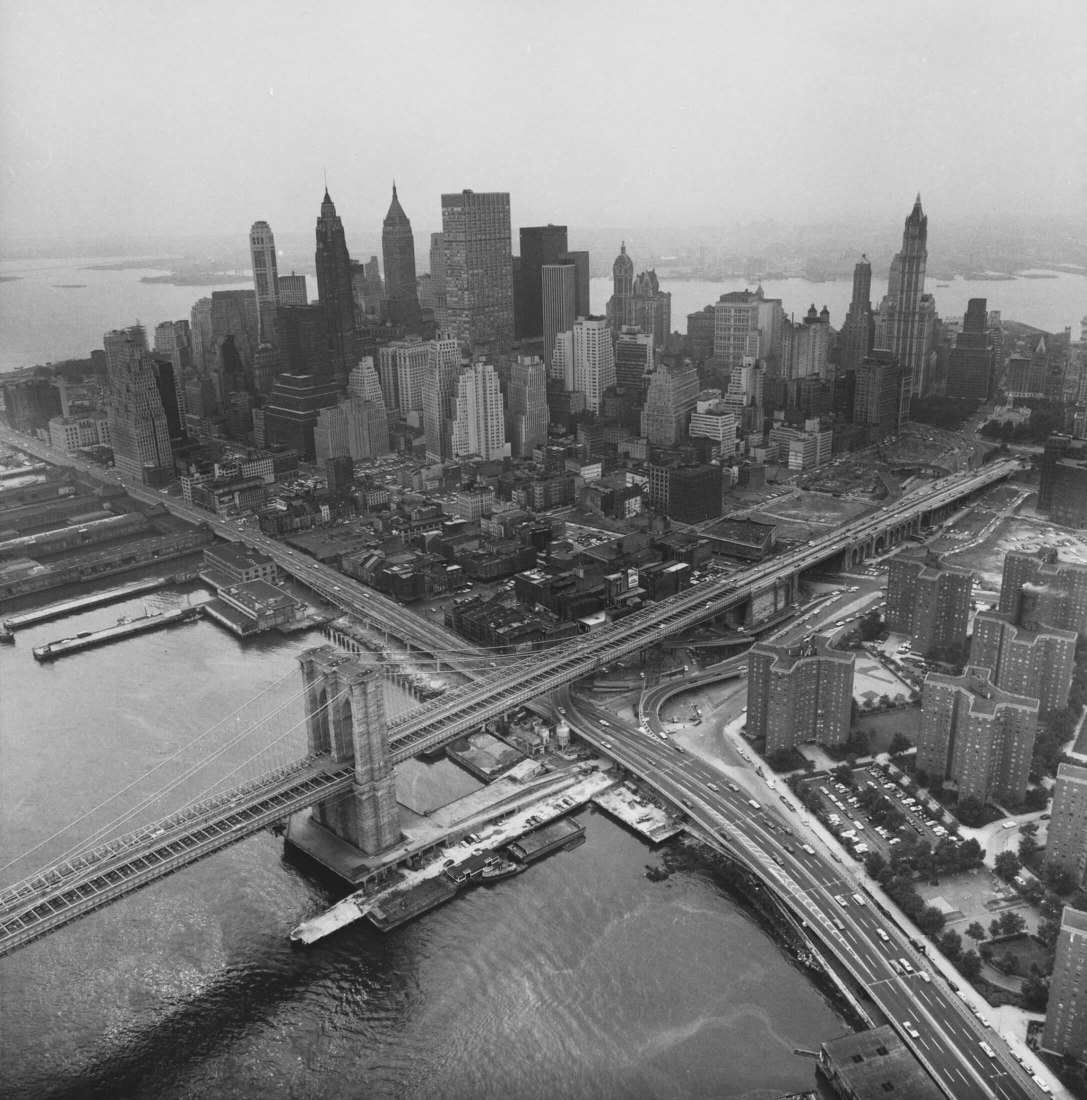Aerial View of Manhattan, 1966–67. Danny Lyon (American, born 1942). Gelatin silver print; 25.2 x 25 cm. Photograph by Danny Lyon. Courtesy of Museo ICO