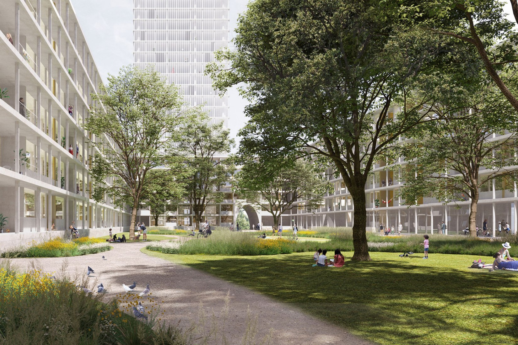 Rendering. David Chipperfield Architects Wins Competition to Transform Former Industrial Site in Berlin. Courtesy of David Chipperfield Architects