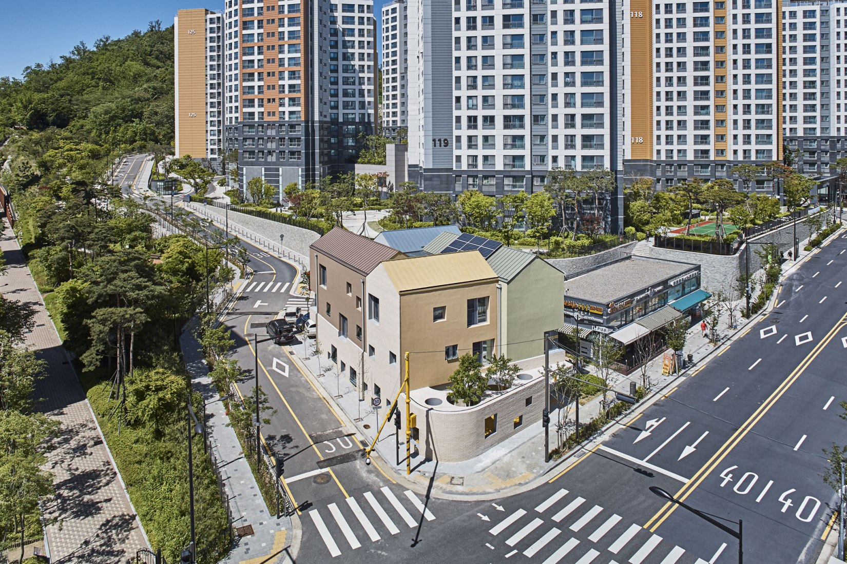Aerial view. Maebong Daycare Center, new nursery school by Daniel Valle Architects. Photograph by Lee Namsun