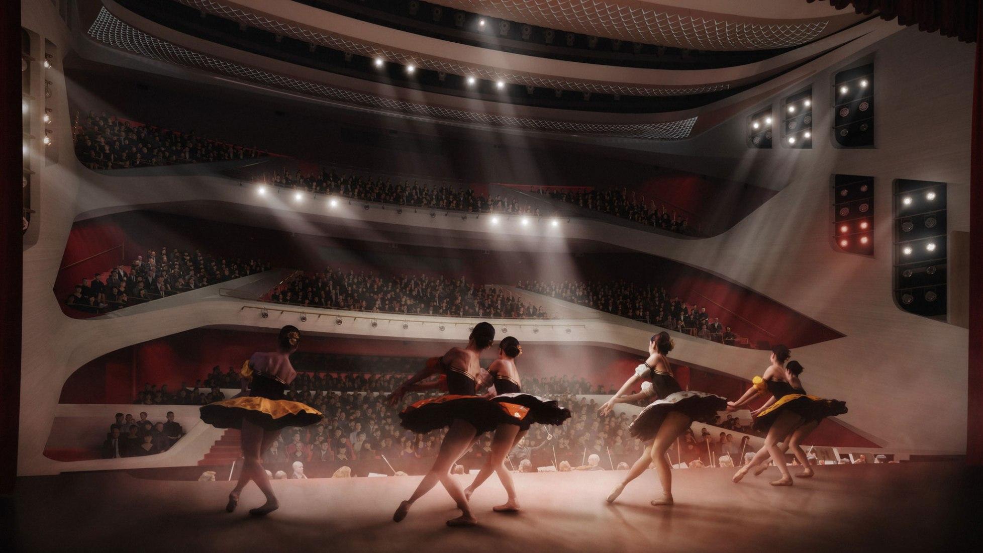 It facing the auditorium. Lyric Theatre Complex by UNStudio. Image by DBOX / UNStudio