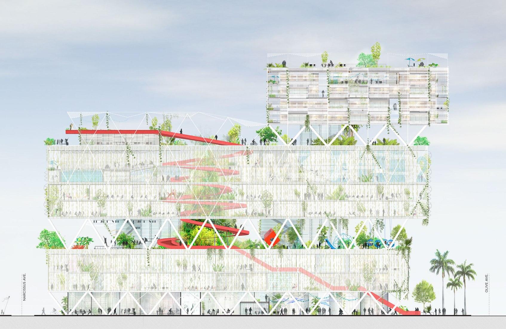 Banyan Hub | Un edificio de programa complejo rodeado por una piel verde y permeable, por Ecosistema Urbano