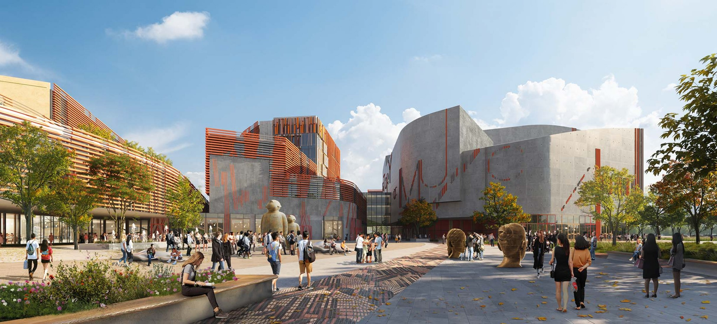 Shenzhen Conservatory of Music by Miralles Tagliabue EMBT. Renderings by Fancy