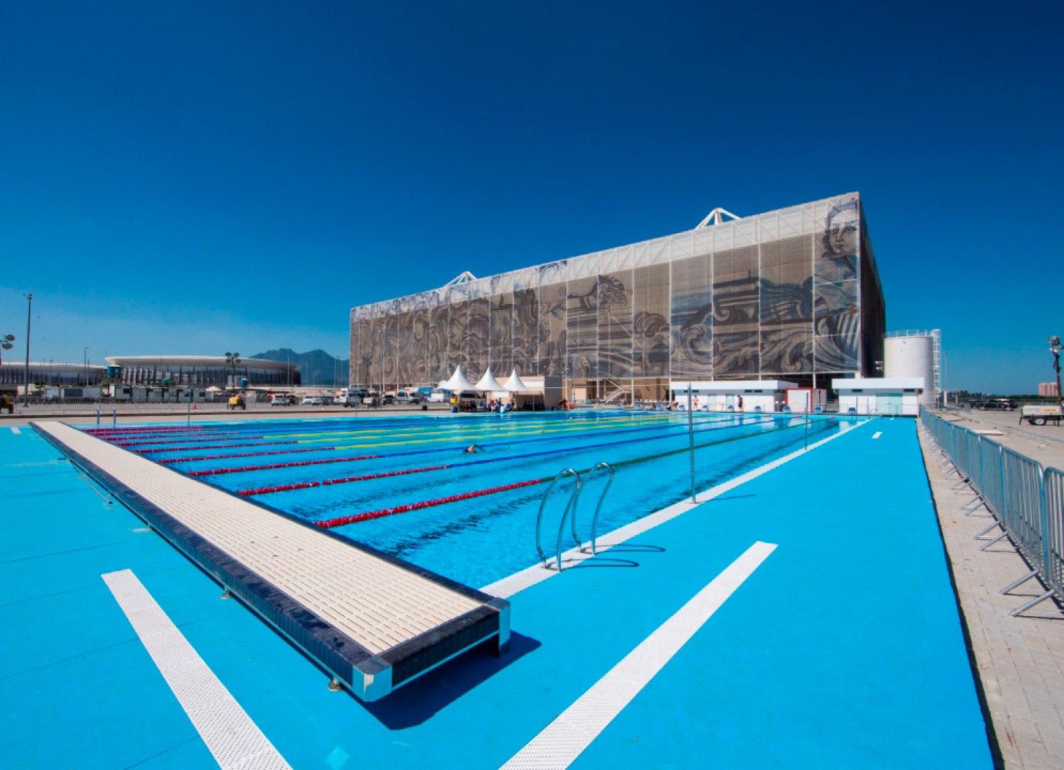 Exterior view. Brazil's Olympic swimming stadium by gmp Architekten. Photograph © Rio 2016.