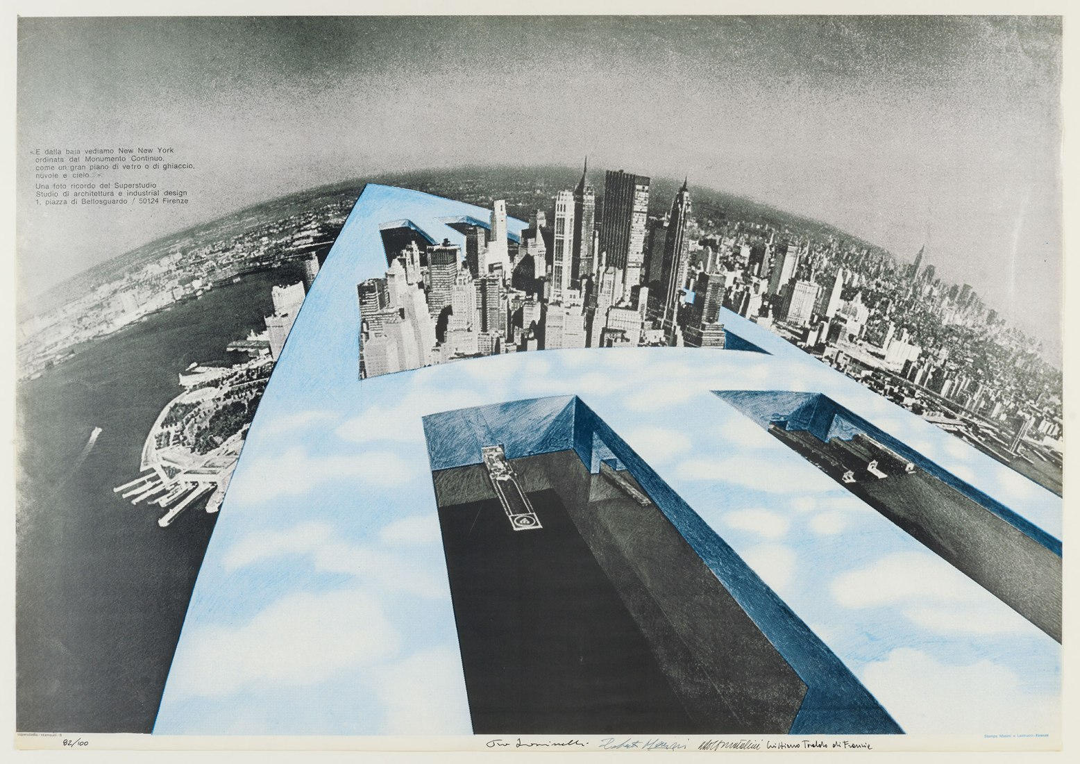 Superstudio. Manifesto New New York (in nero e azzuro), 1969. Coll. Frac Centre-Val de Loire