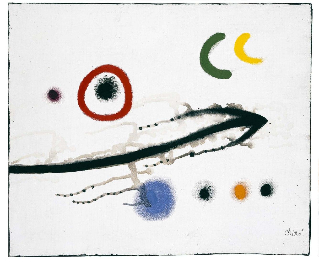 Joan Miró. Peinture / Pintura, 1973. Óleo sobre lienzo, 46 x 55 cm. Colección Particular en depósito temporal. ©Successió Miró 2020.