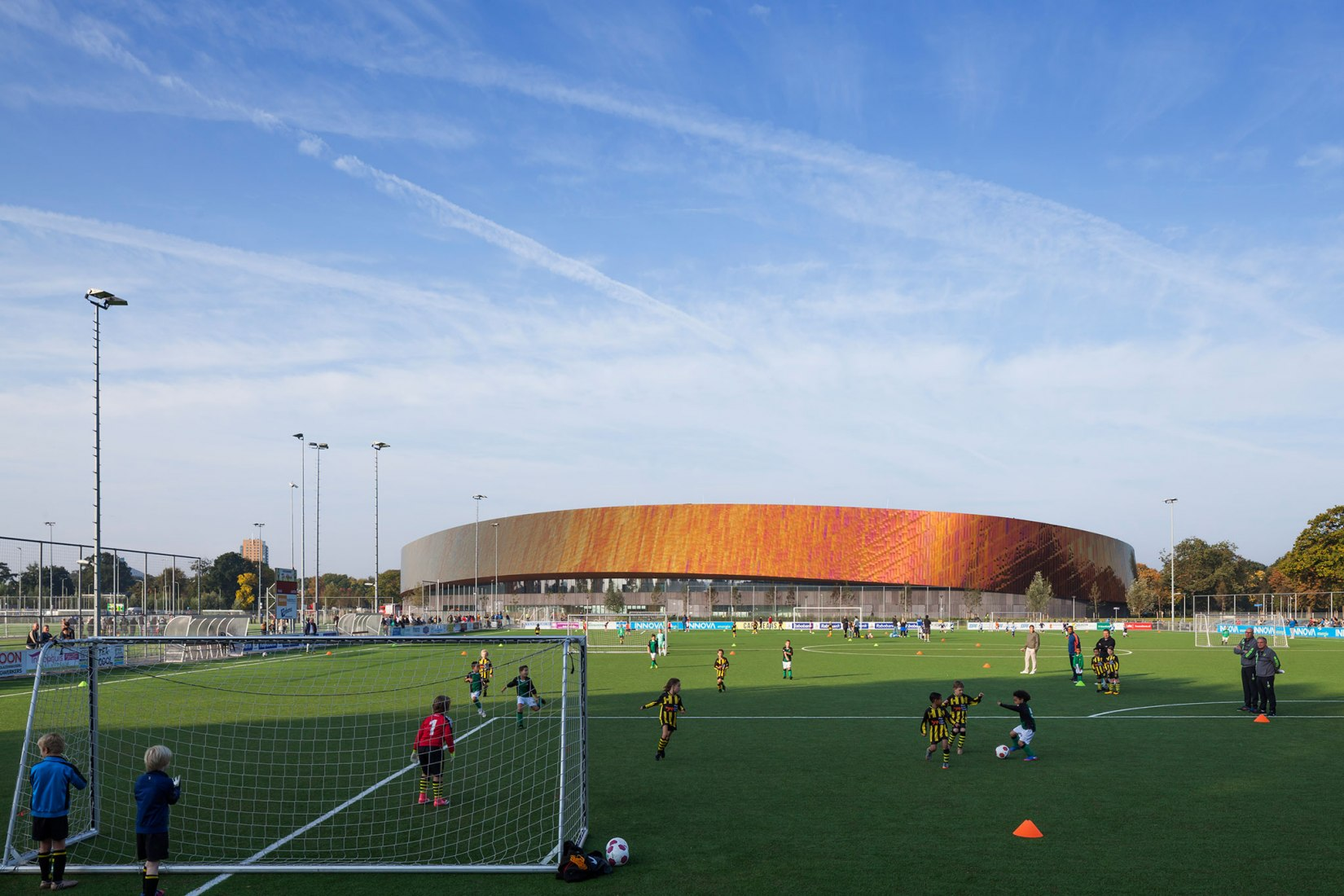 Football field. Sportcampus Zuiderpark by FaulknerBrowns Architects. Photograph © Scagliola Brakkee