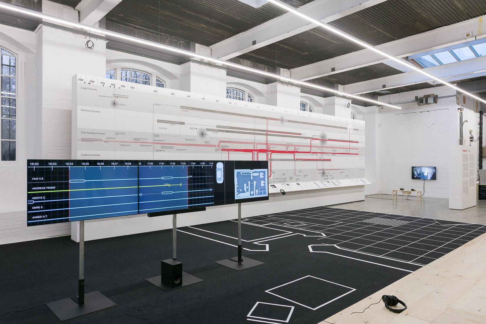 Vista de instalación. Forensic Architecture. Contra investigaciones, Institute of Contemporary Arts. Fotografía de Mark Blower. Imagen cortesía de la Tate