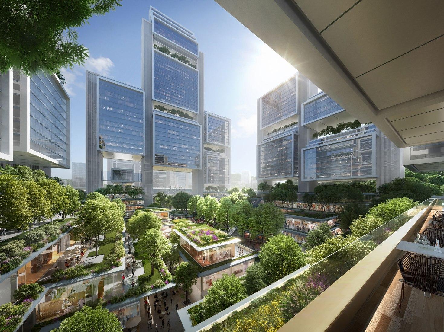 Plan director de Guangming Hub por Foster + Partners. Visualizaciones cortesía de Foster + Partners