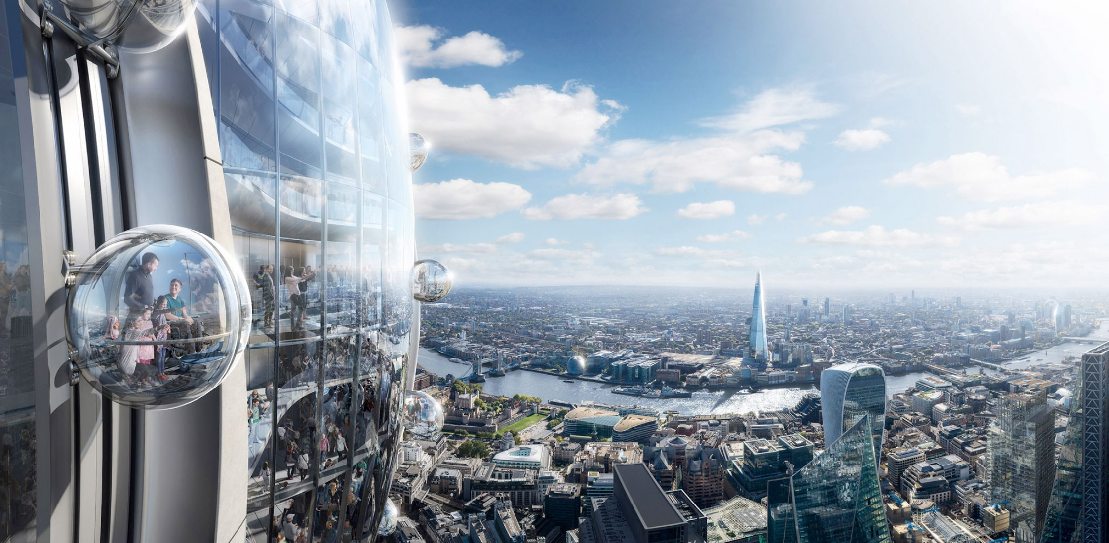 People can view the city from glass gondolas that revolve around the outside of The Tulip's