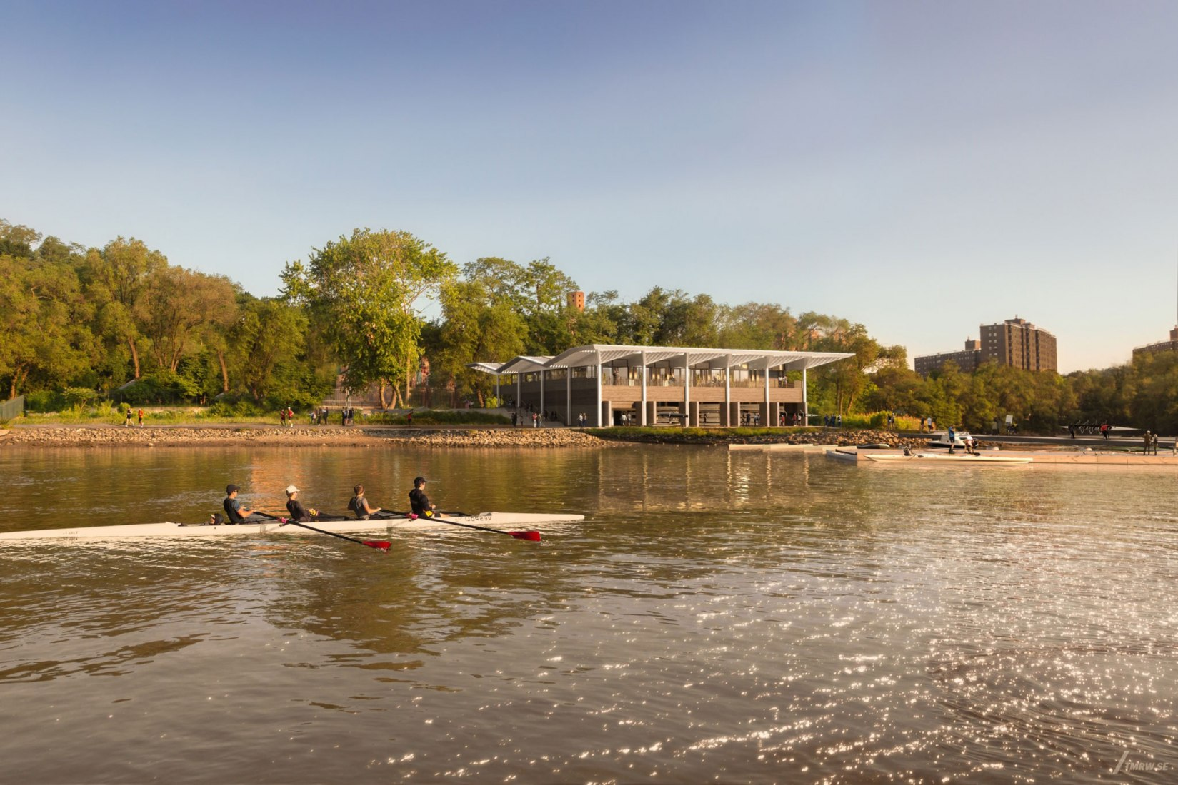 Rendering. Harlem Boathouse. Image Courtesy of Norman Foster