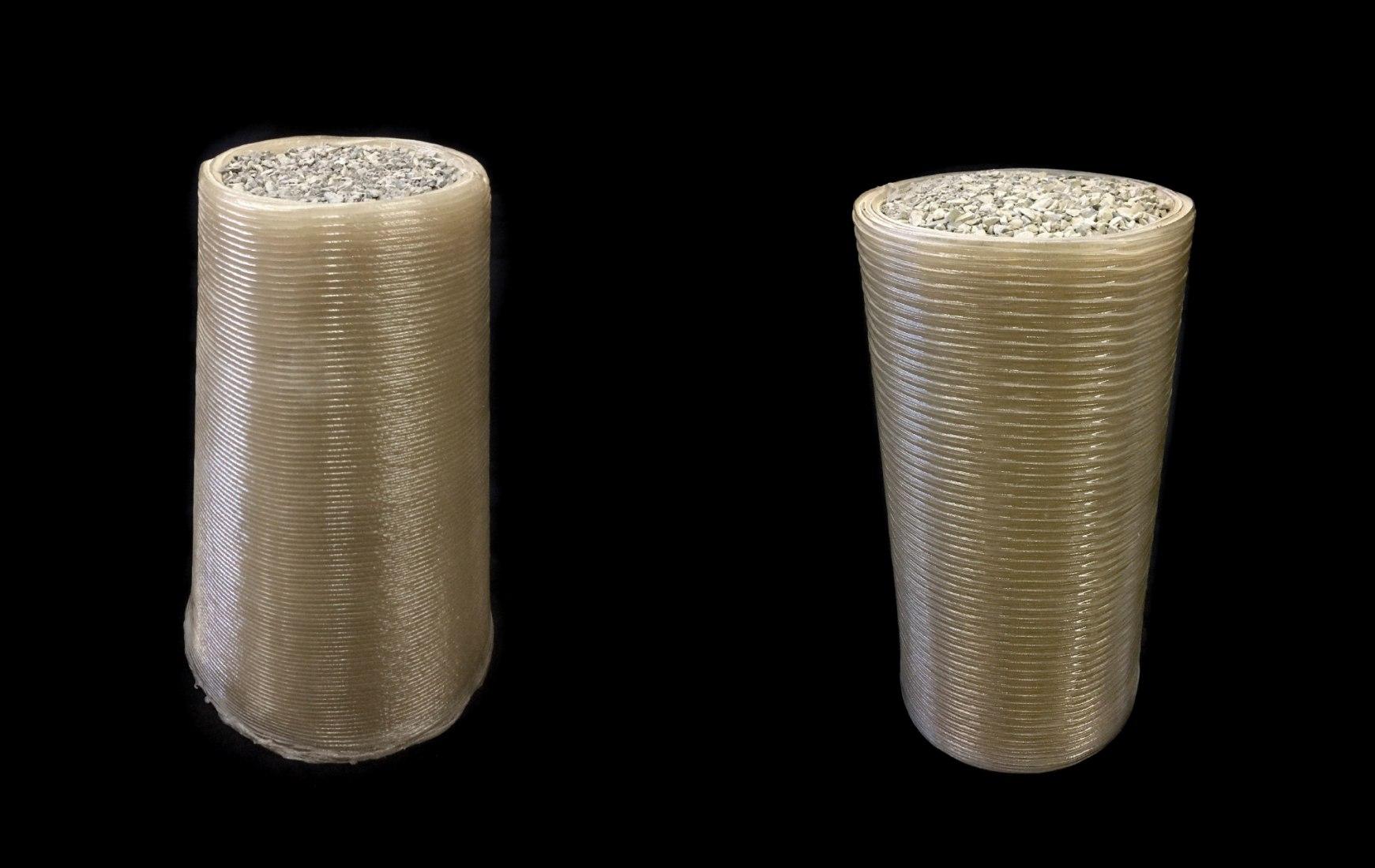 Los conos fueron impresos en 3D por Foster + Partners | Branch Technology para el Nivel 2, de la 1ª fase, test de compresión del Concurso de Hábitat Impreso en 3D de la NASA. Foster + Partners marcó el mayor número de puntos para esta etapa. Imagen cortesía de Foster + Stearns | Branch Technology