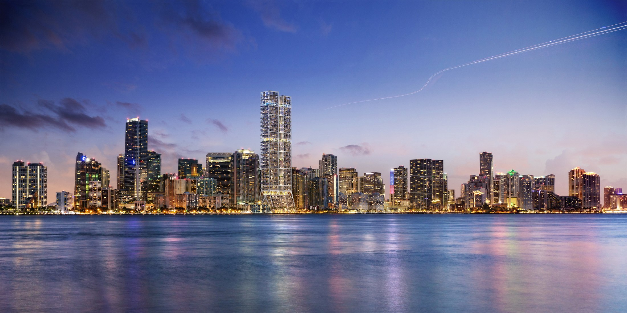 Torre residencial en Miami por Foster + Partners. Imagen © dbox_Foster + Partners