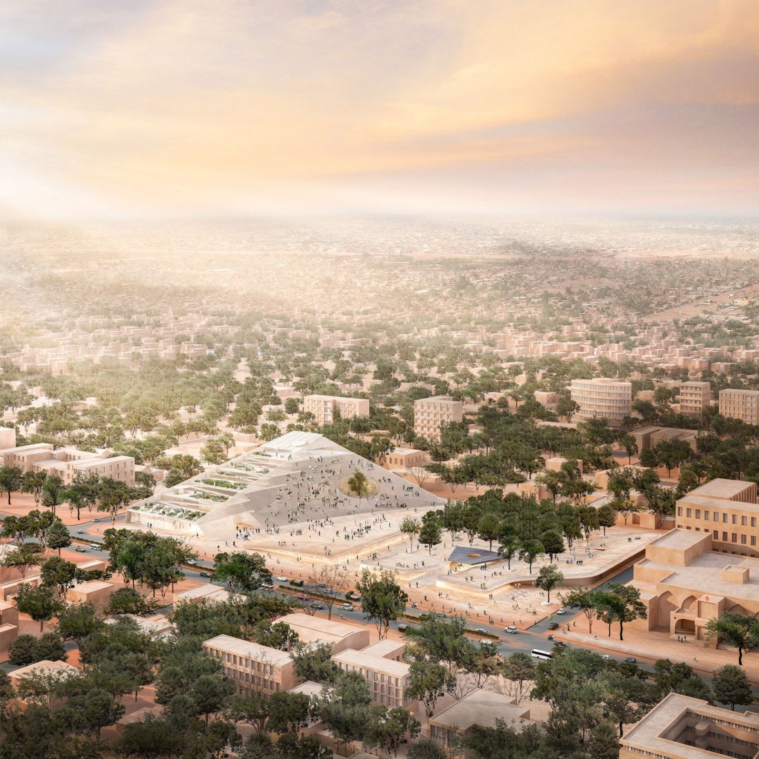 Overview rendering. Burkina Faso National Assembly & Memorial Park by Diébédo Francis Kéré. Image courtesy of Kéré Architecture