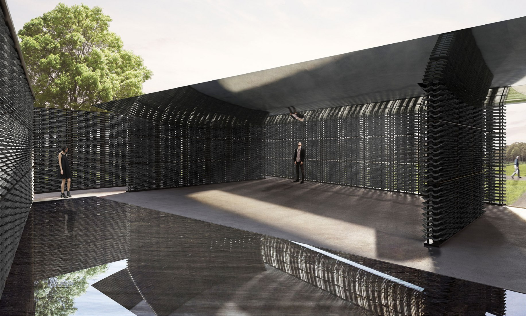 Serpentine Pavilion 2018 diseñado por Frida Escobedo, Taller de Arquitectura, diseño de Render, vista interior © Frida Escobedo, Taller de Arquitectura, Visualizaciones por Atmósfera. Imagen cortesía de Serpentine Galleries
