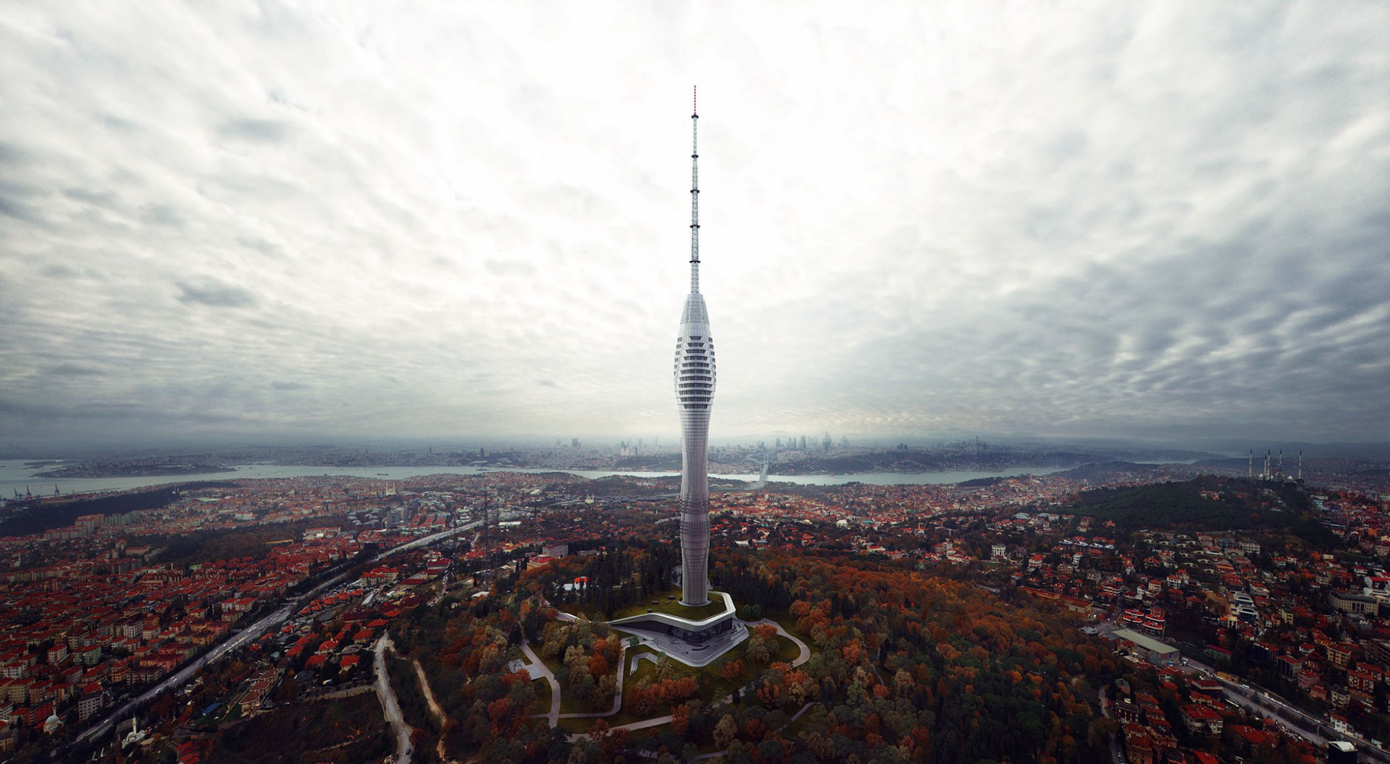 Istanbul's Futuristic Tower Raising by MELIKE ALTINISIK ARCHITECTS. Photograph by Ege Acar.