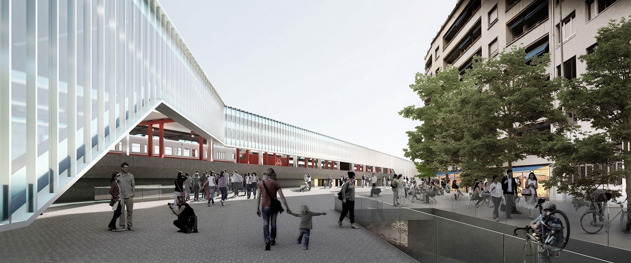 Rendering new railway station of Cornavin, Geneva by Vázquez Consuegra and Frei Rezakhanlou